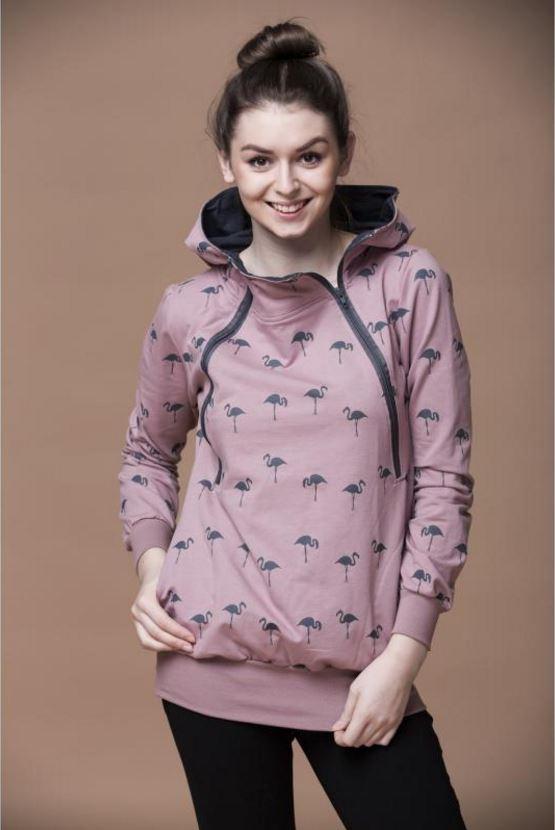 Bluza do karmienia piersią Mamatu różowa, we wzorek flamingów