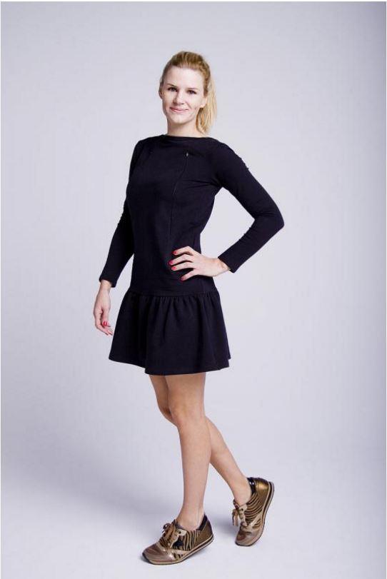 Sukienka do karmienia Mamatu czarna falbanka
