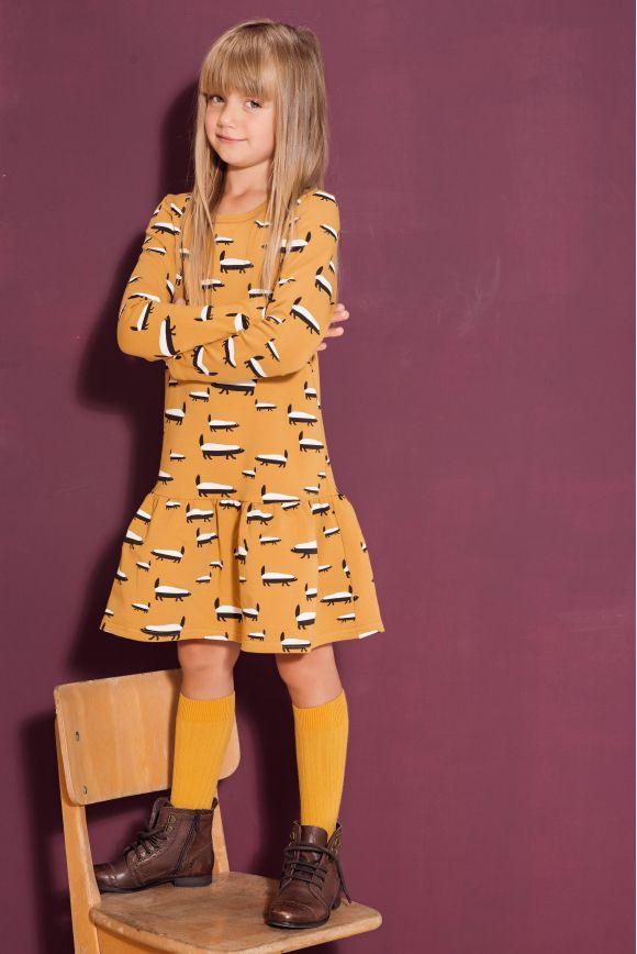 Sukienka dla dziewczynki BORSUK musztardowa
