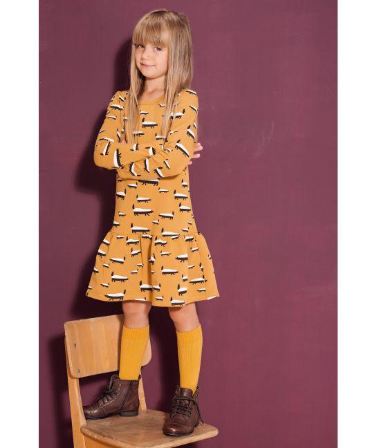 Sukienka dziecięca BORSUK MUSZTARDOWY