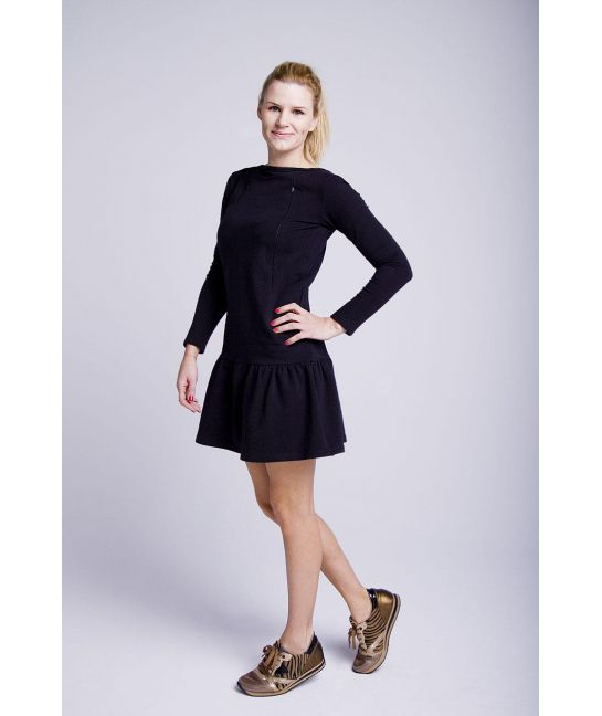 Sukienka do karmienia czarna z falbanką