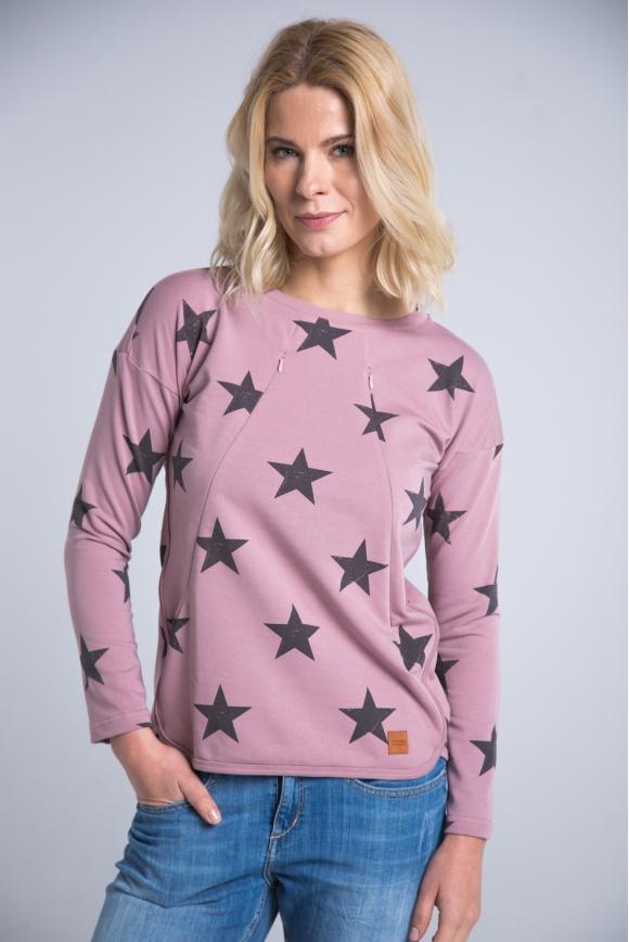 Bluza do karmienia STARS różowa