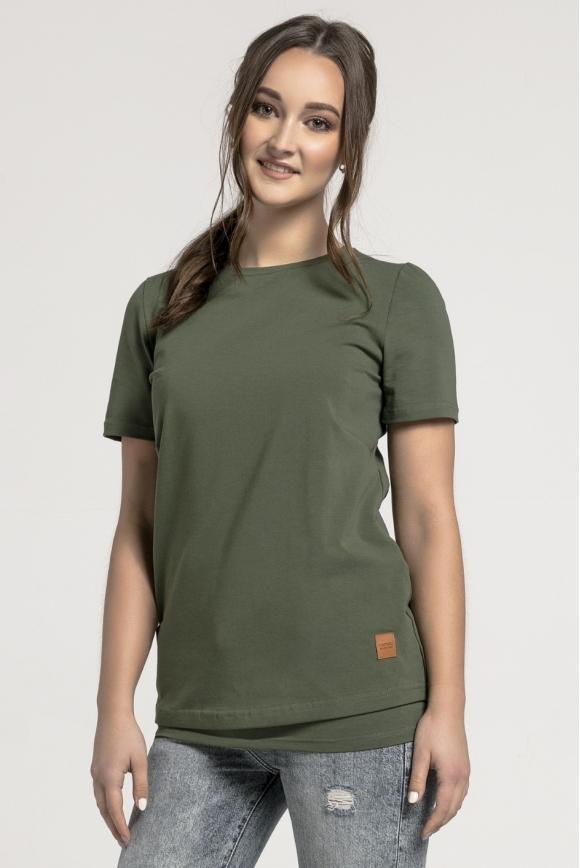 Koszulka do karmienia piersią KHAKI z naszywkami
