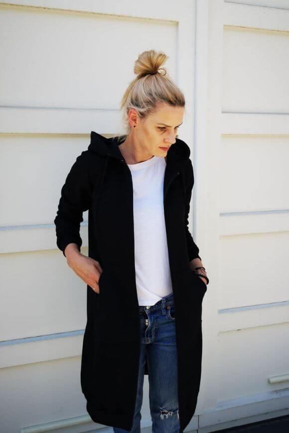 Długa bluza damska BLACK 1