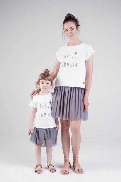 Koszulki dla mamy i córki Hello Summer biała