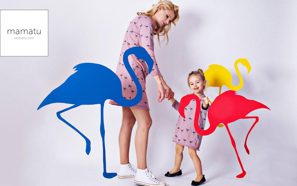 Sukienki flamingi dla mamy i córki