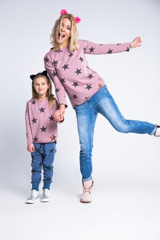 Bluza dla mamy i córki z wzorem w gwiazdki