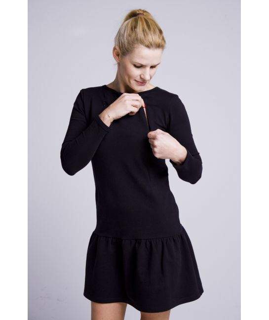 Breastfeeding dress with flounce black